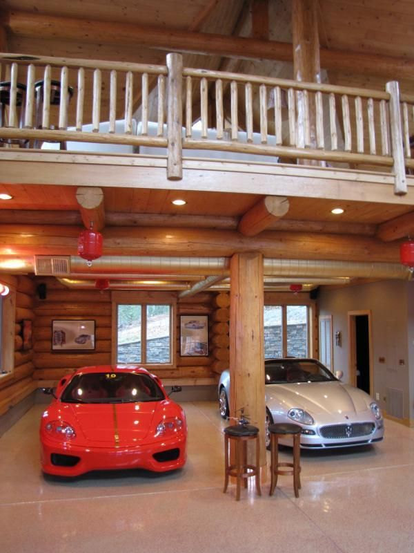 A Luxurious Garage For The Car Enthusiast Dream Garage Ultimate Garage Log Home Interiors