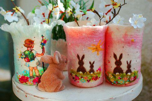 Frühlingskinder Vasen 49,00 Euro pro Stück neu bei verfilzt & zugenäht www.verfilztundzugenaeht.de