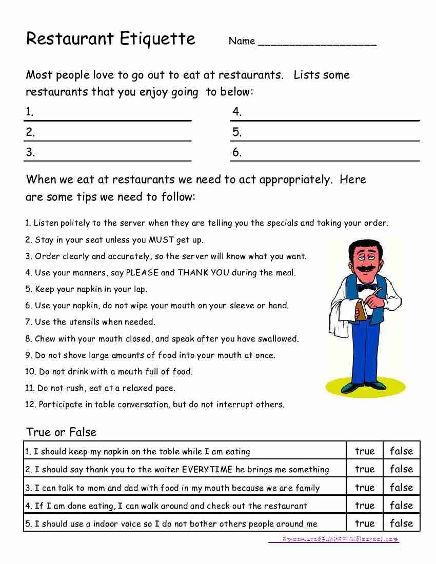 worksheet Life Skills For Adults Worksheets empowered by them restaurant etiquette lifeprep c vocational going to tailor for our familys use kids worksheet practice polite at kid friendly resta