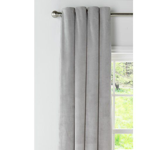 Buy Collection Velour Lined Eyelet Curtains 168x137 Pale Grey At Argos Co Uk Visit Argos Co Uk To Shop Online For Curtains Blind Curtains Home House Blinds