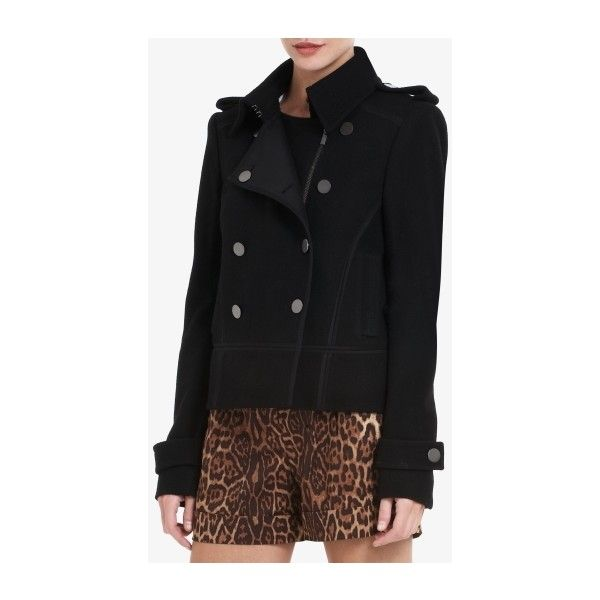 Adam A-Line Double-Breasted Cropped Pea Coat (€92) found on Polyvore