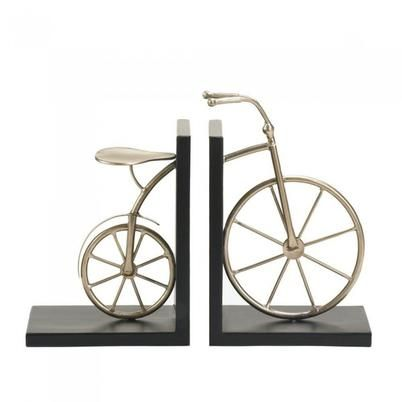 A bicycle stand for your favorite books? Yes! An absolutely charming addition to your shelf or table, this book end pair features a metallic antique bike that's split in two to hold your treasured tomes.
