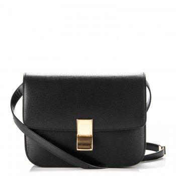 CELINE Liege Calfskin Medium Classic Box Bag Black  4b1b8326349d7