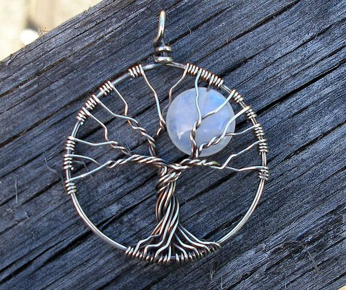 Moon Tree Pendant | Recycled sterling silver wire and rainbo… | Flickr