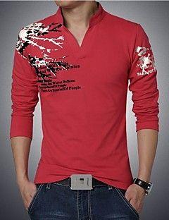 Polo De Los Hombres Casual Tallas Grandes Estampado Algodon Espandex Manga Larga Camisas De Moda Para Hombres Camisas Masculinas Ropa Informal Masculina