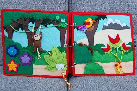 PDF Pattern & tutorial - 2 Quiet book pages Piratebook: Jungle #junglepattern