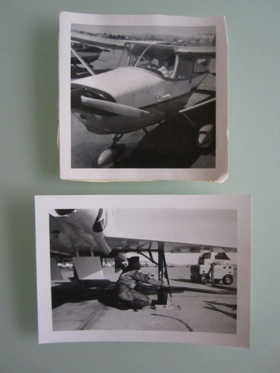 Two black and white United States Air Force photographs. One of the pictures is of a pilot refueling it says on the back April 1968 pilot training Williams Air Force Base, AZ. The other picture is of pilots ready to fly a plane.