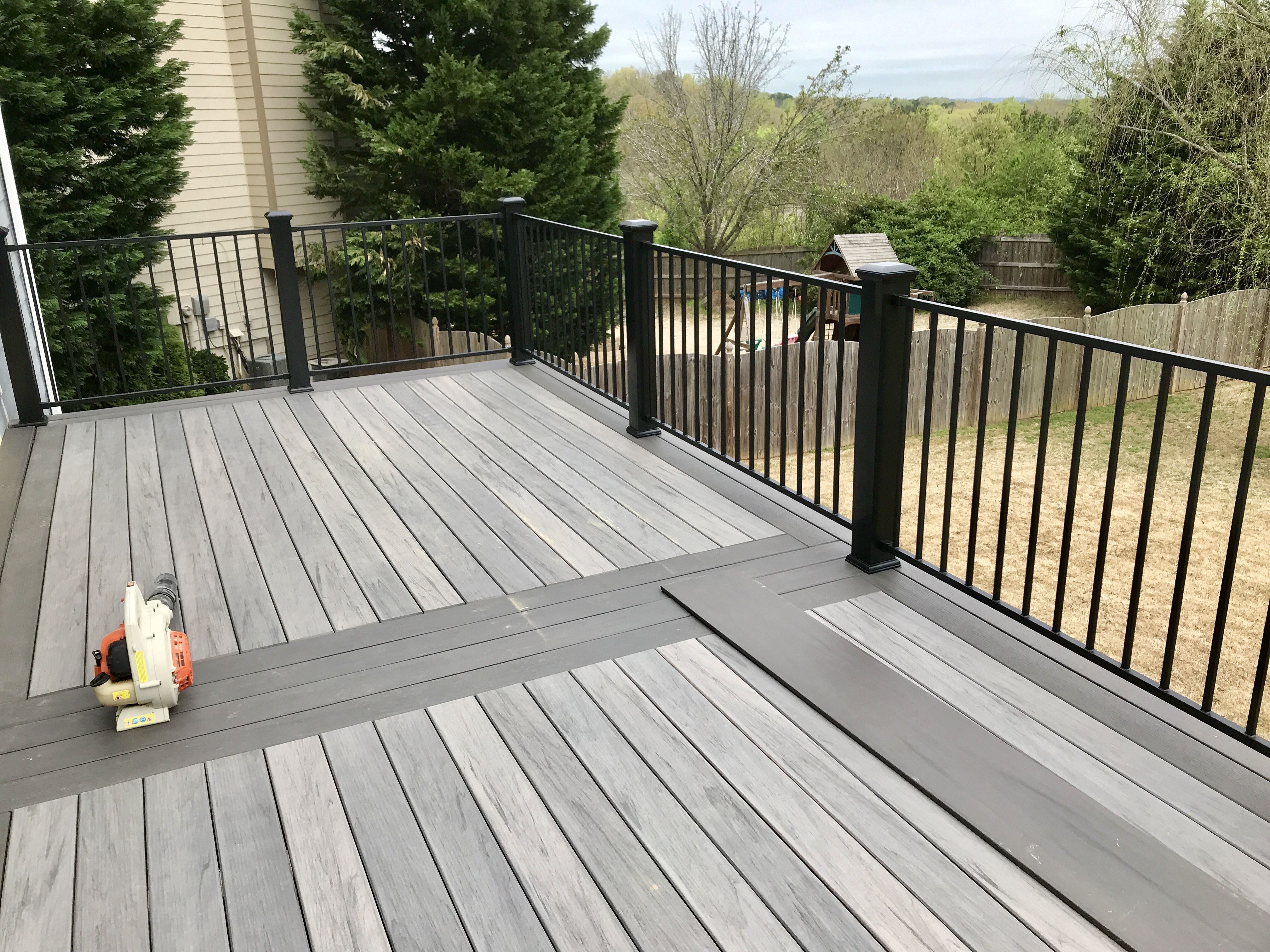 Installing Fortress Iron P26 Railing On A New Timbertech Legacy Composite Deck Railing In Black Sand Deck In Ash And Espr Composite Decking Deck Deck Remodel