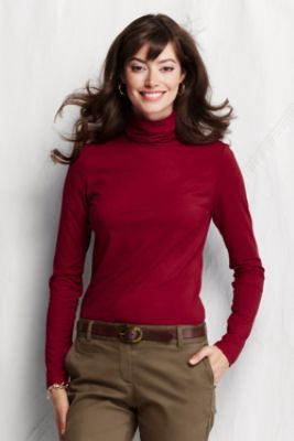 b4b4665d8d85d Women s Long Sleeve Solid Fitted Lightweight Cotton Modal Turtleneck from  Lands  End--love these for layering!