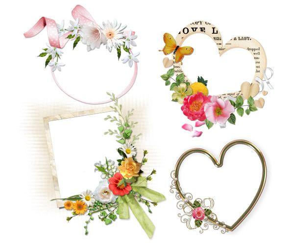 植物 花 葉 木 とフレーム 額縁 飾り枠 をコラージュしたナチュラル系フリーイラスト無料素材 花 イラスト 花 イラスト 簡単 フリーイラスト