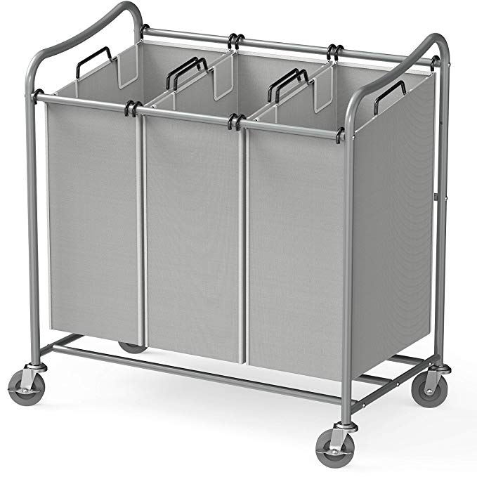 Laundry Sorter 3 Bag Laundry Hamper Sorter with Rolling Heavy Duty Casters Gray