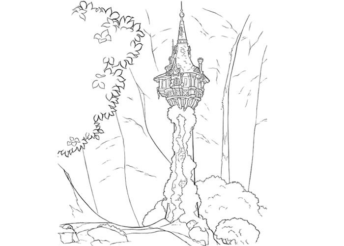 Tangled Tower Coloring Pages Tangled Tower Colouring Pages
