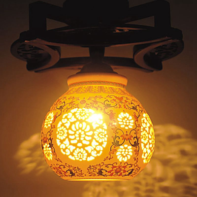 chinese style living room ceiling lamp classical wooden ceramic
