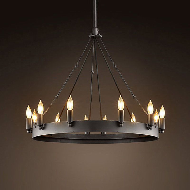 12 Light Round Candle Chandelier Retro Spanish Rustic Chain French Ceiling Porch 607841465144 Ebay Iron Chandeliers Wrought Iron Chandeliers Round Candle Chandelier