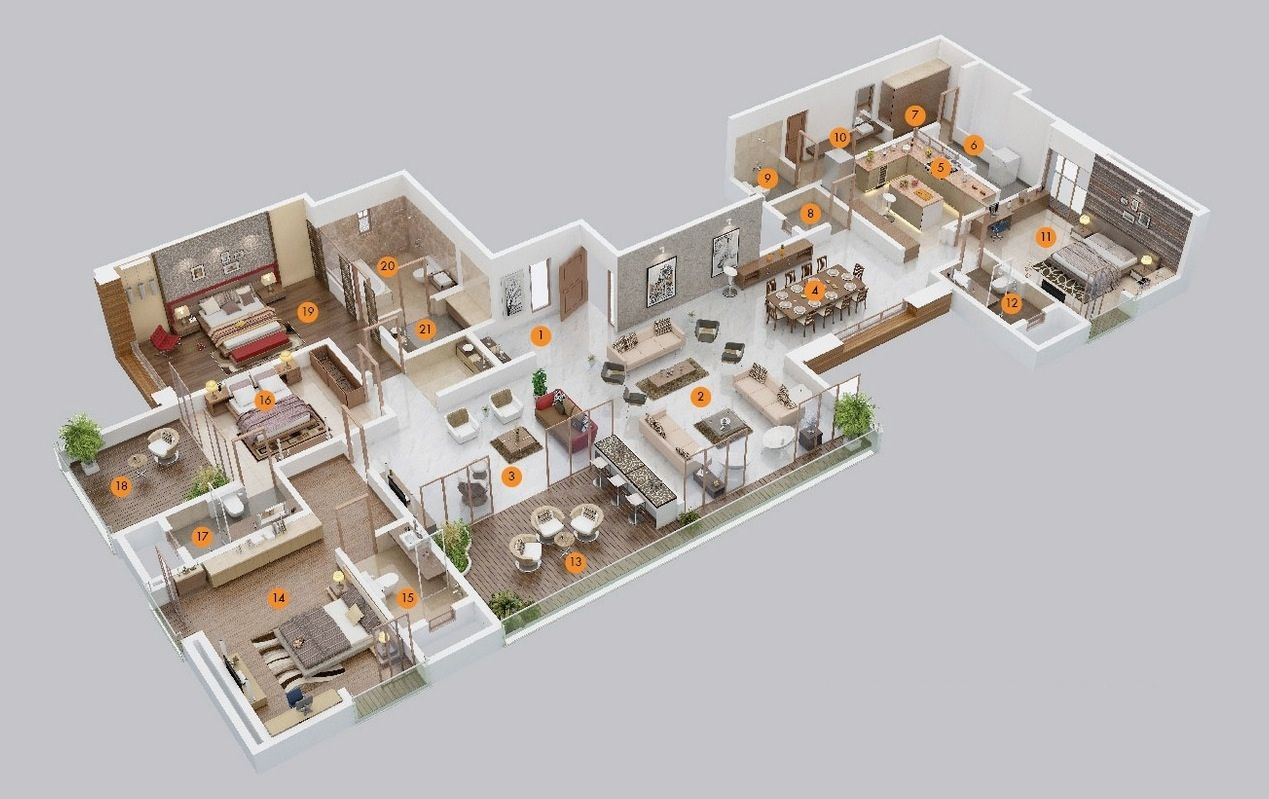 4 Bedroom Apartment House Plans 3d House Plans Bedroom House Plans Apartment Floor Plans