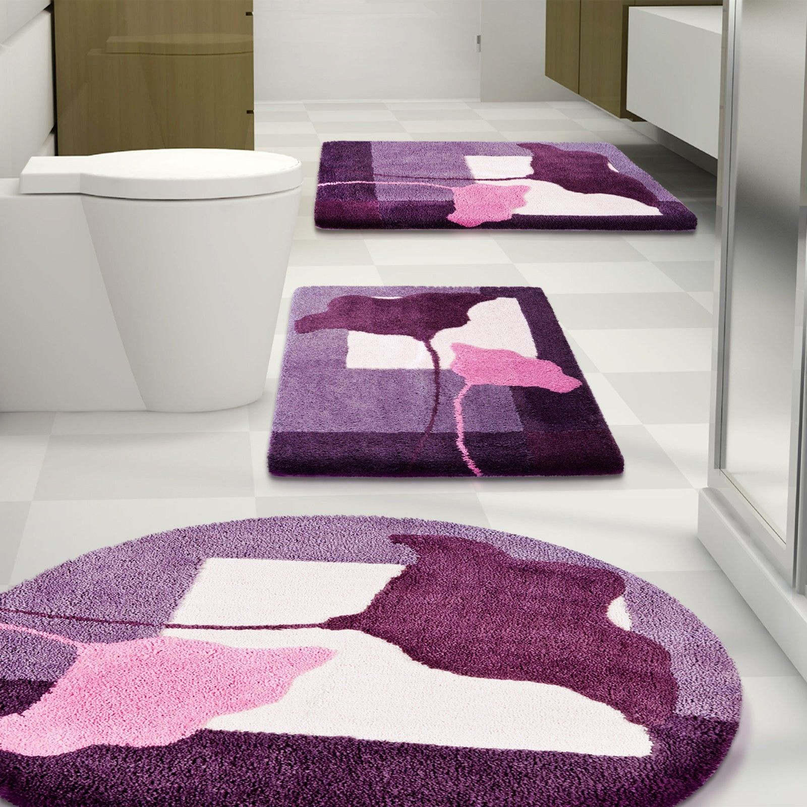 Beautiful Bathroom Rug Sets With Flower Purple And Pink Accent