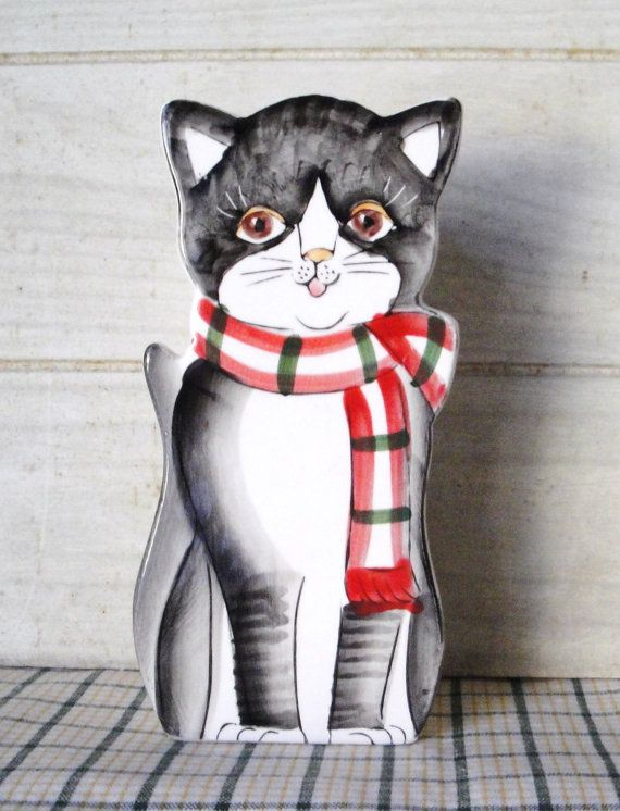 Hand Painted Ceramic Kitty Vase or Tall Matchstick Holder ...