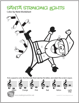 Santa Stringing Lights - Free Printable Color-by-Note Treble Clef ...