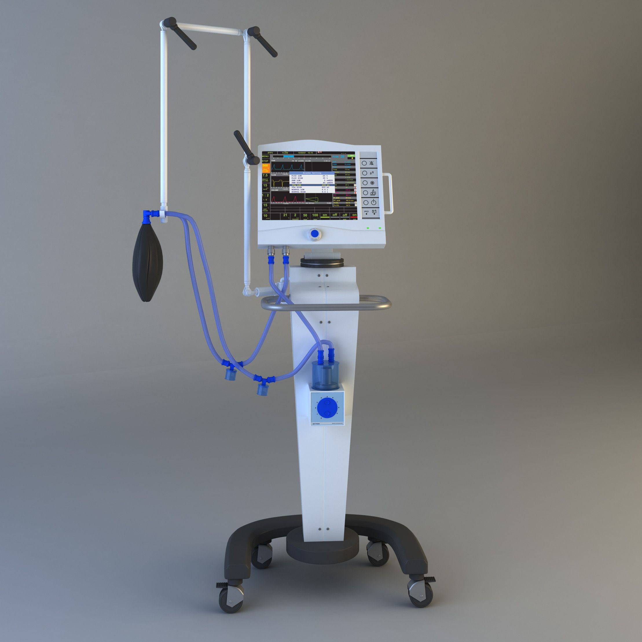 medical ventilator : used to mechanically move breathable air in and