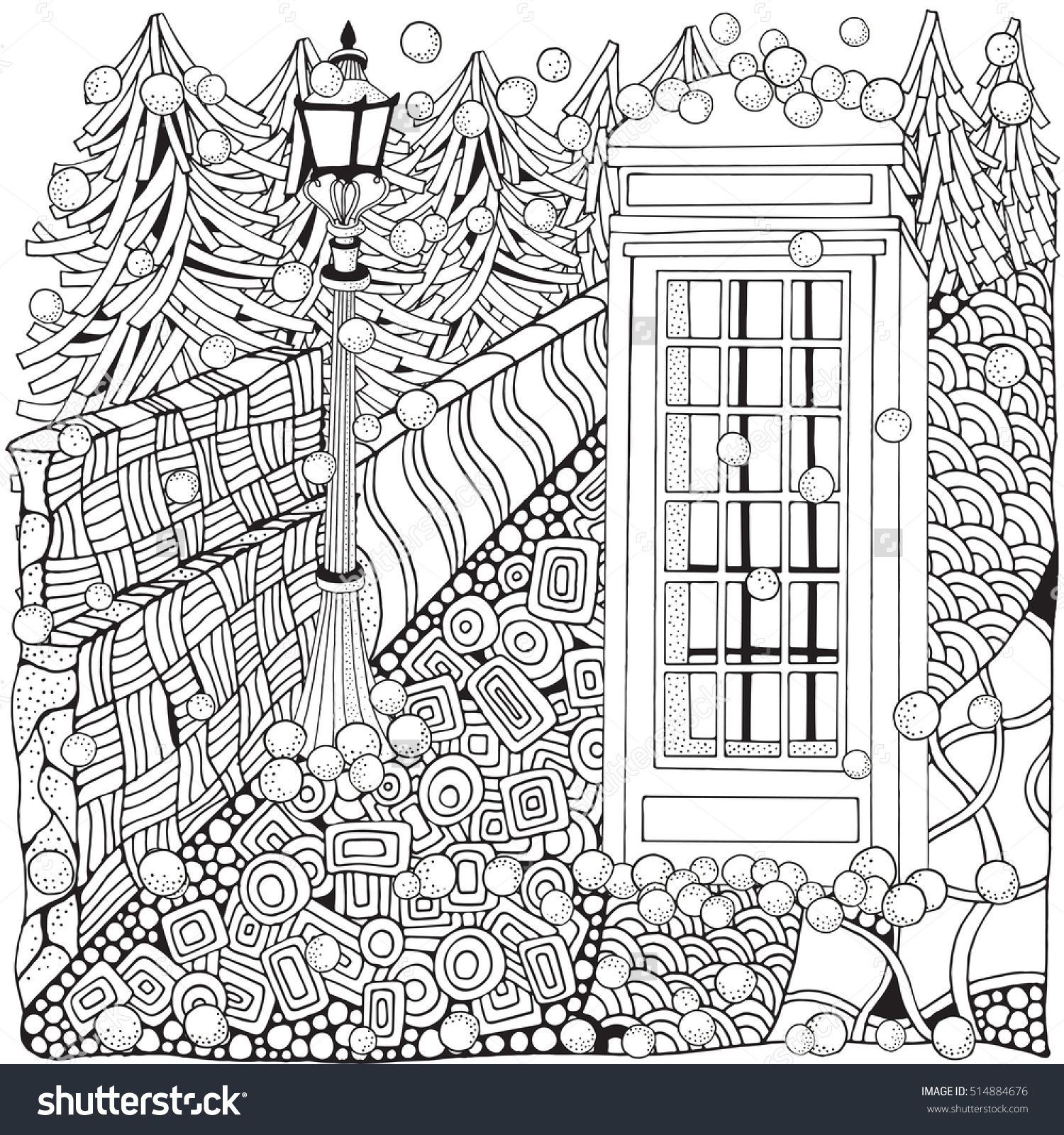 winter coloring book phone booth door snowing english red
