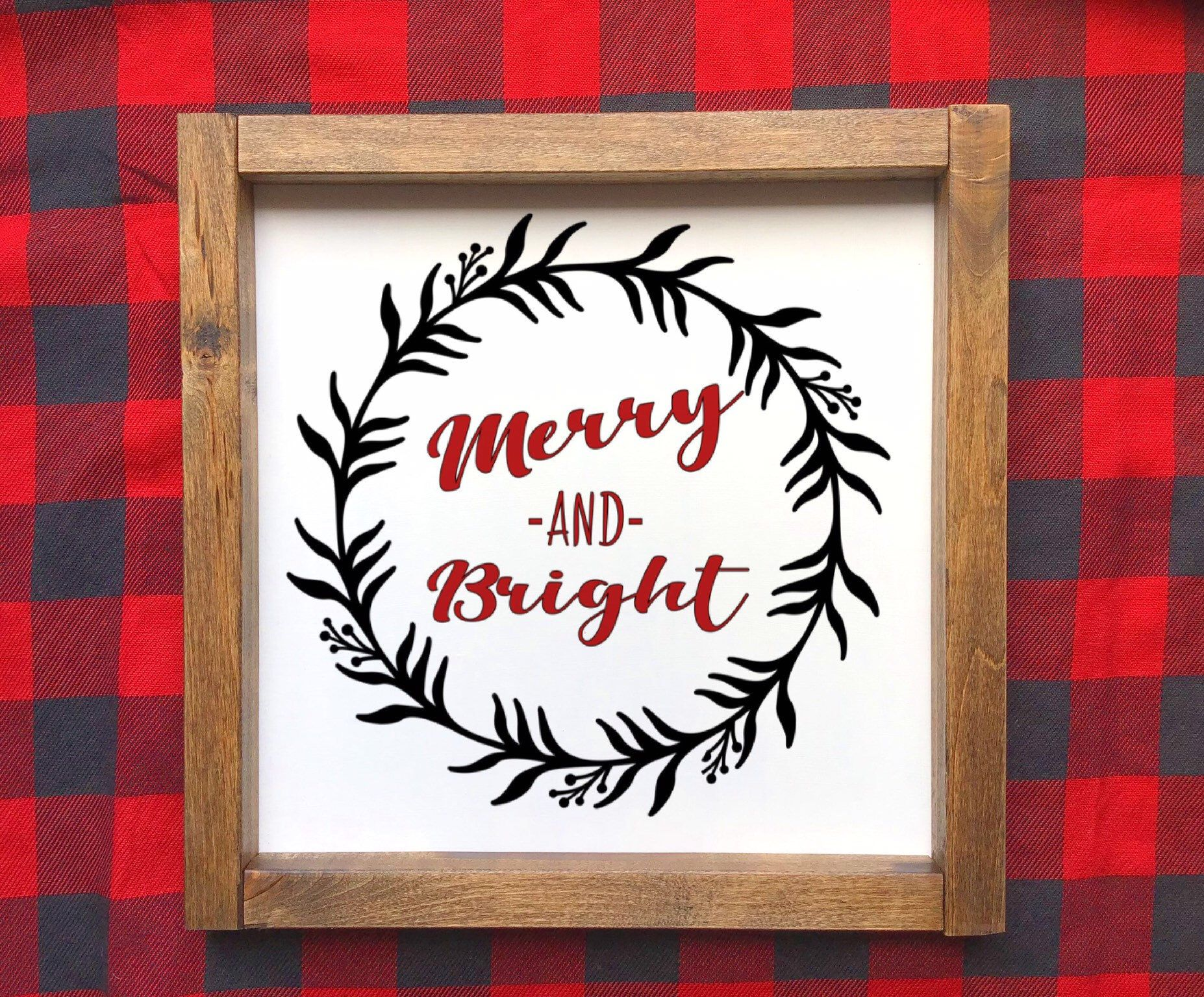 Merry and Bright Christmas Wood Farmhouse Style Sign