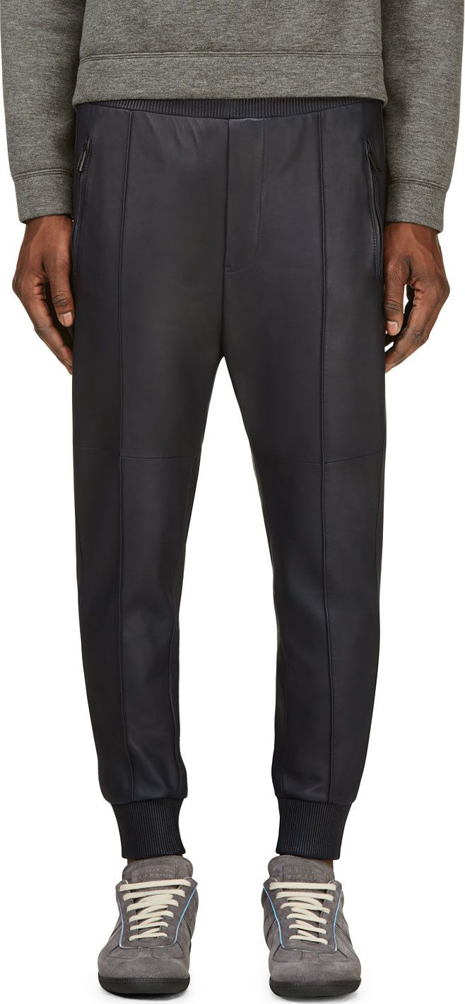 Dsquared2 - Navy Leather Paneled Lounge Pants | SSENSE