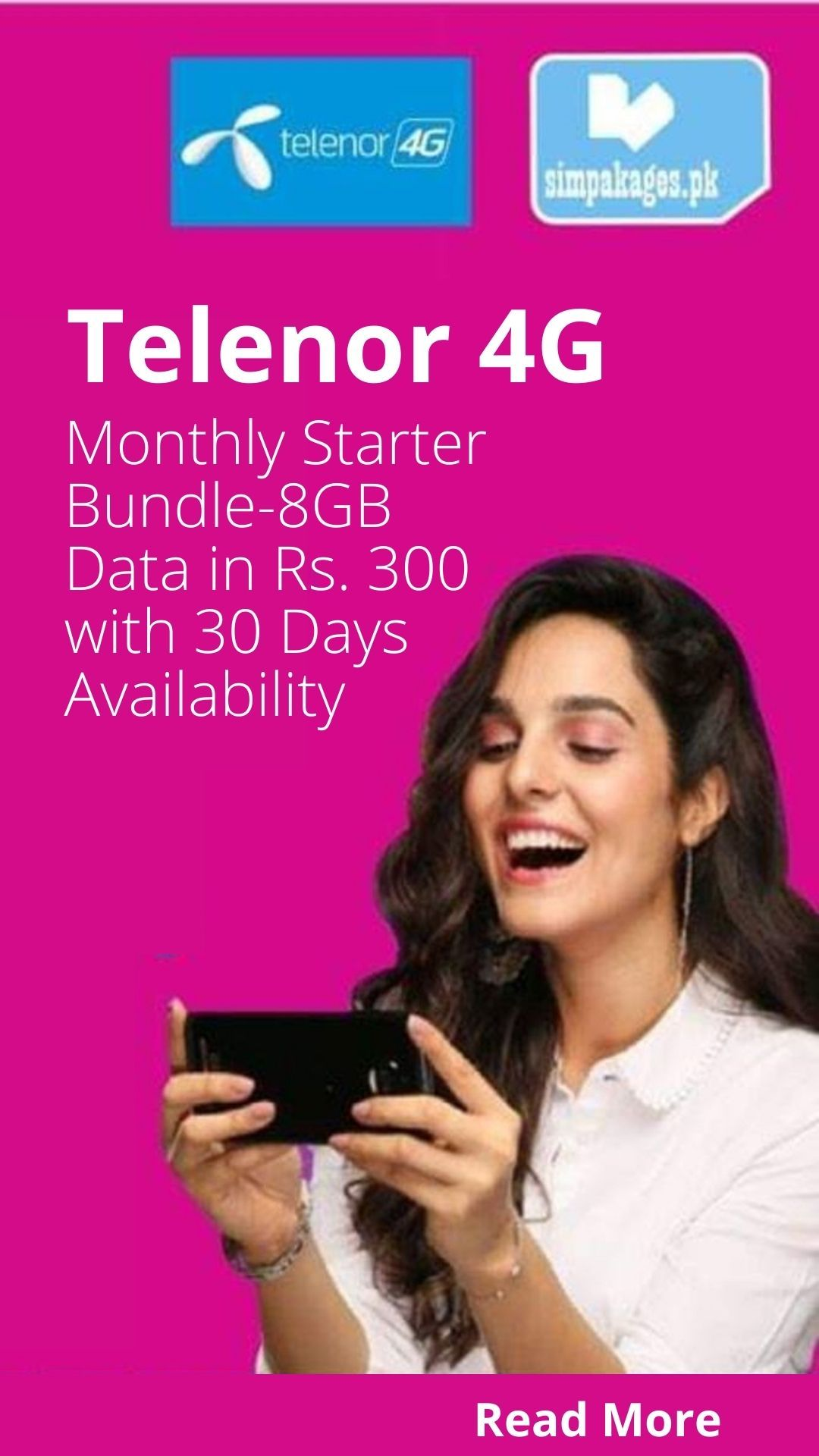 Telenor 4g Monthly Starter Bundle 8gb Data In Rs 300 With 30 Days Availability In 2020 Bundles Starter Day