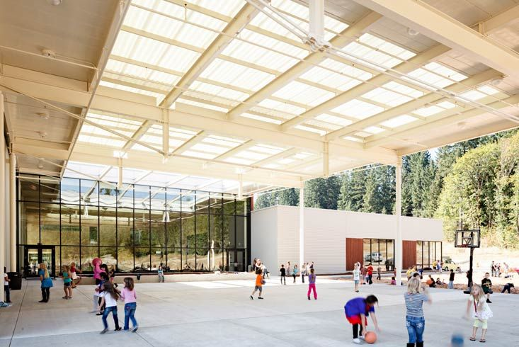 Covered Play Commons Transparent Boora Architects Vernonia K 12 School