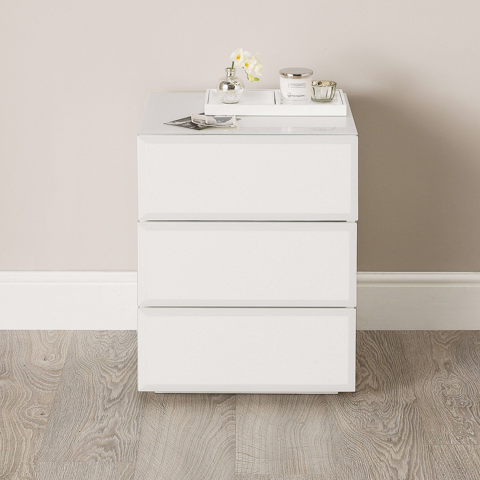 Carlton Glass Bedside Table | Bedroom Furniture | The White ...