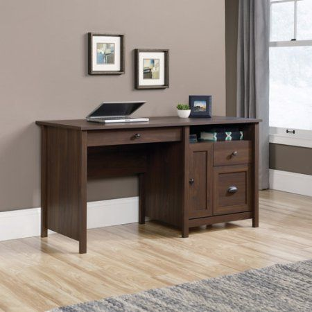 rum walnut office desk home desk with 4 drawers and open shelf rh pinterest com