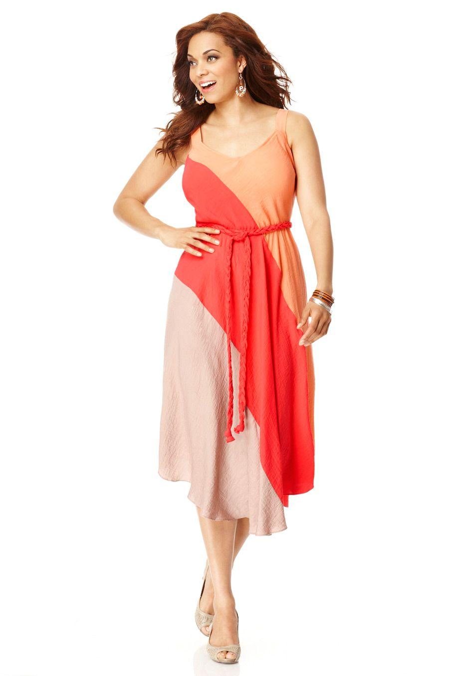 Plus Size Belted Colorblock Dress Plus Size Avenue Clearance