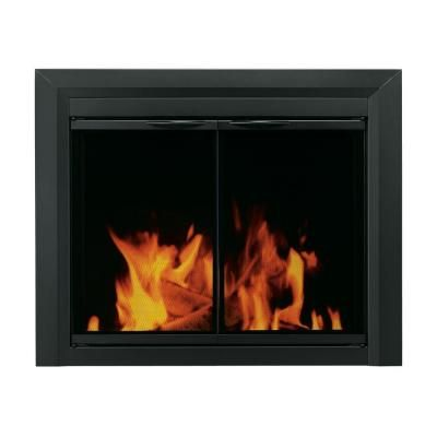 pleasant hearth carlisle medium black cabinet style glass fireplace rh pinterest com