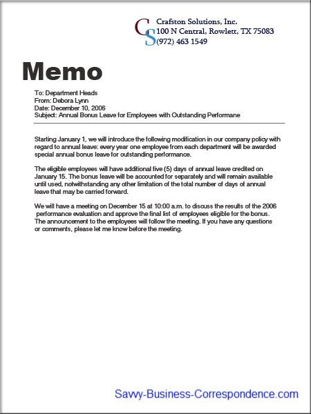 Announcement memo about introducing company policy changes - employee memo template