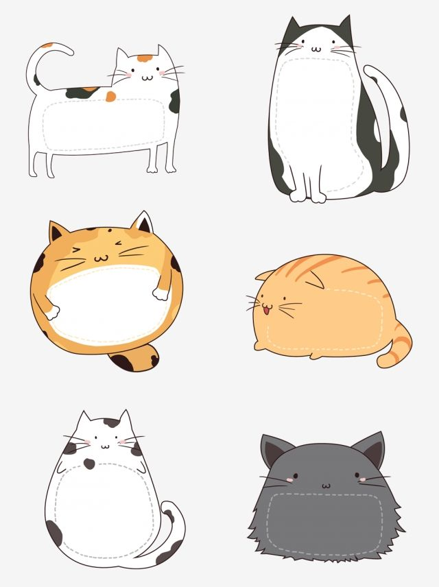 Cute Cartoon Hand Painted Pet Cat Hand Account Sticker Border Element Set Illustration, Element, Material, Cat PNG Transparent Clipart Image and PSD File for Free Download