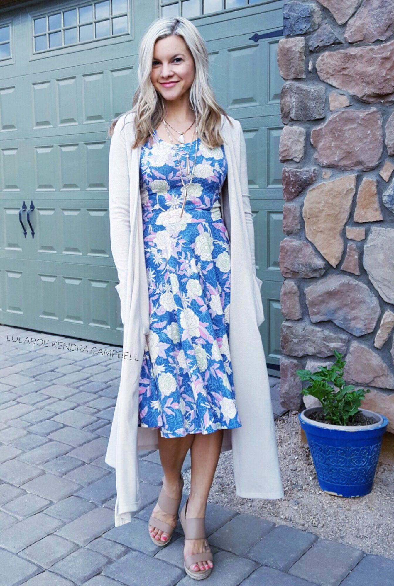 a3c39a66a78 LuLaRoe Nicole dress with a Sarah cardigan. Click to shop LuLaRoe and for more  styling ideas and giveaways.