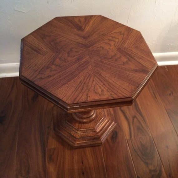 geometric accent table cigarette table midcentury wood inlay octagon rh pinterest com