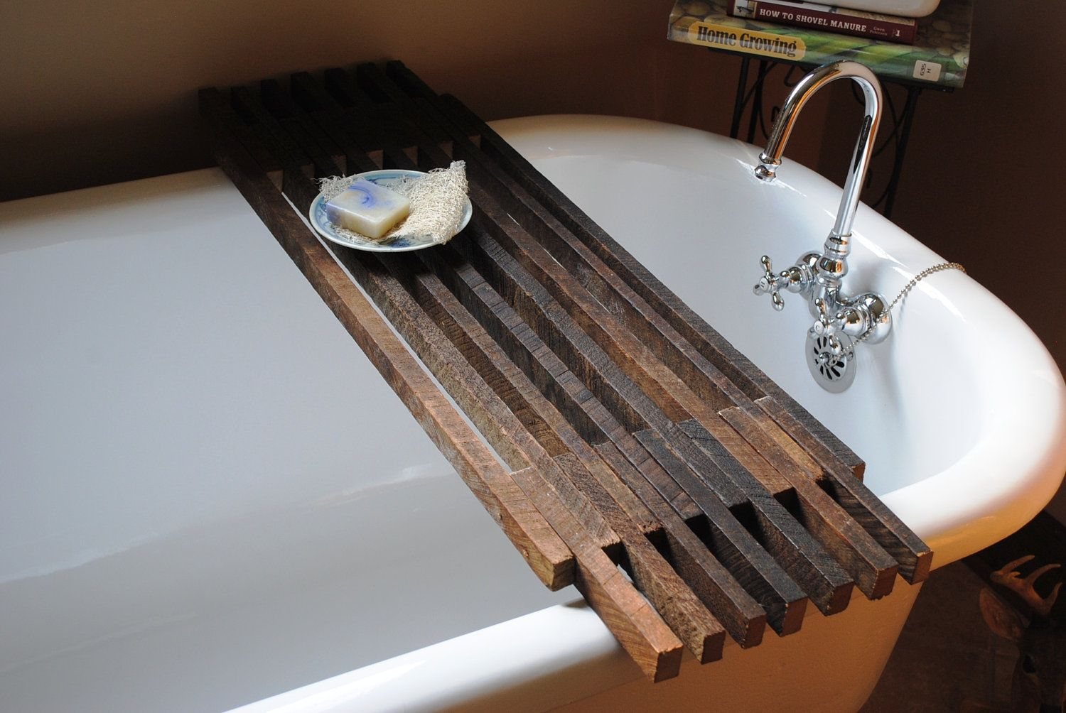 Bathtub Caddy Shelf. $85.00, via Etsy. LOVE LOVE LOVE THIS!! who ...