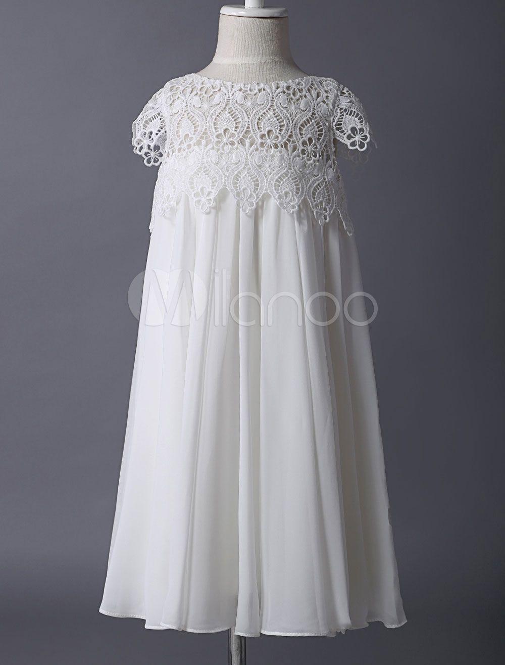 Boho Blumenmädchen Kleider Ivory Lace Cap Sleeves Chiffon kurze ...