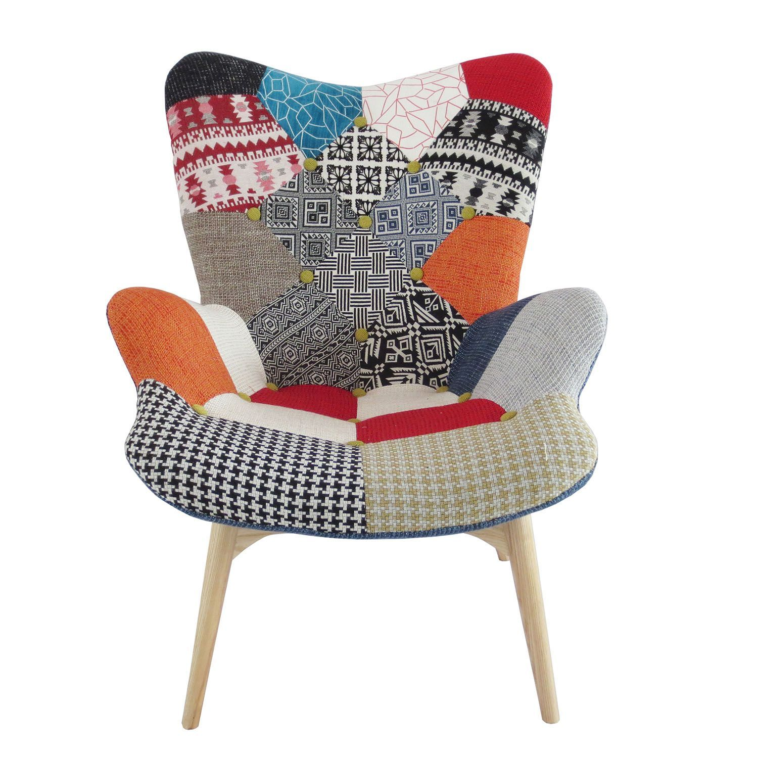 Fauteuil FREATHER Patchwork Chaises Icon Design Chaises De - Fauteuil patchwork design