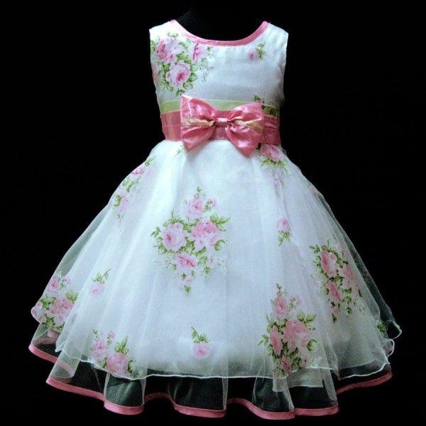Vestido de Festa Infantil Branco Com Flores 600x600 | Roupas ...