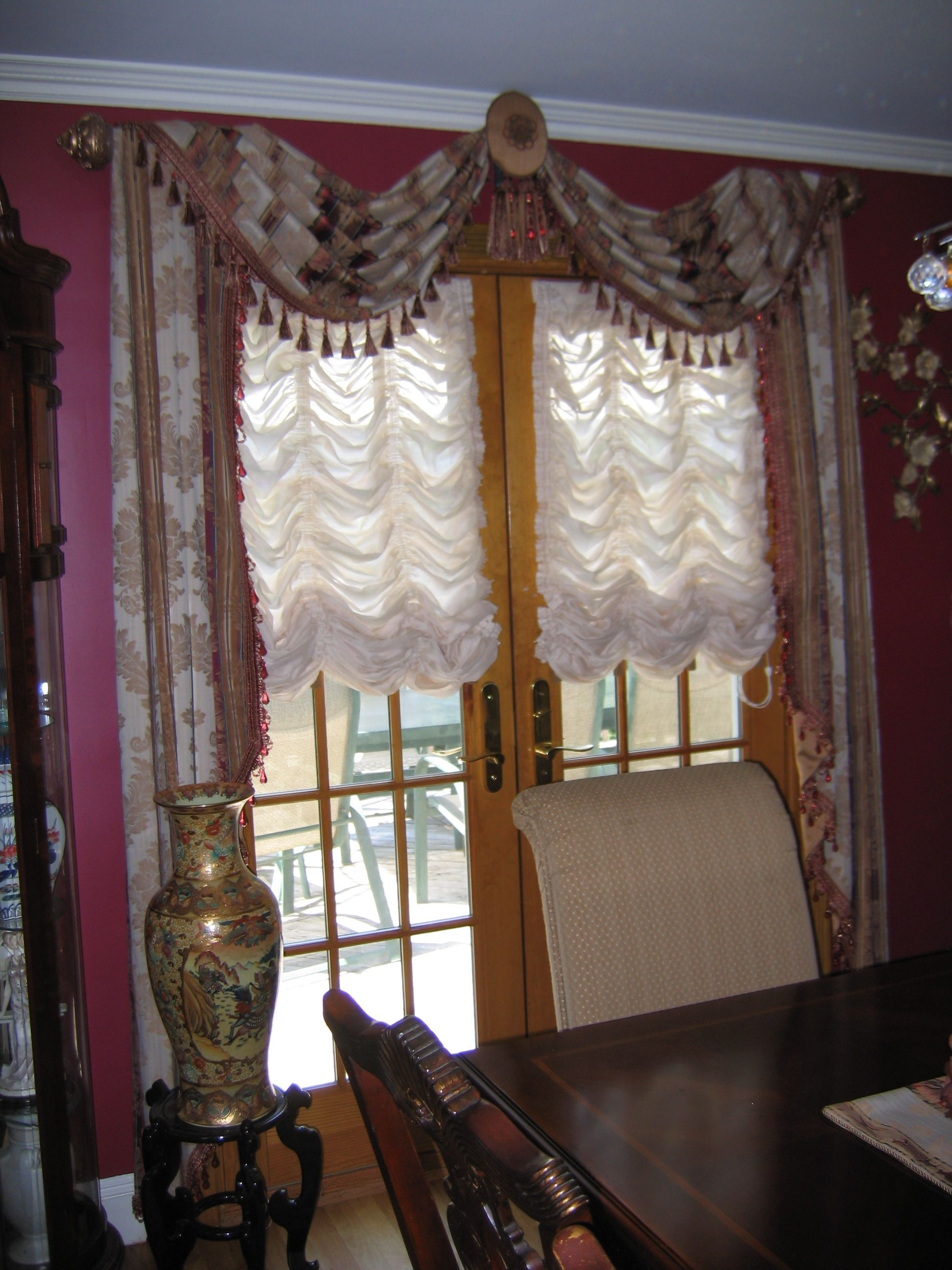 Austrian Curtains Throw Style Swags Jabots On French Door Over Austrian Shades