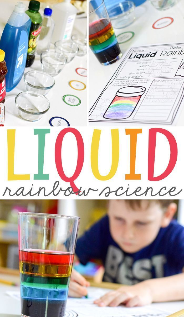 Liquid Rainbow Science Experiment Who doesn't love a good science experiment? Especially one that is so easy and amazes little learners. My students love to do this Liquid Rainbow science experiment together to explore liquids and the differences in their density. Perfect for your kindergarten or grade school classrooms! Grab the free printable and get started learning!