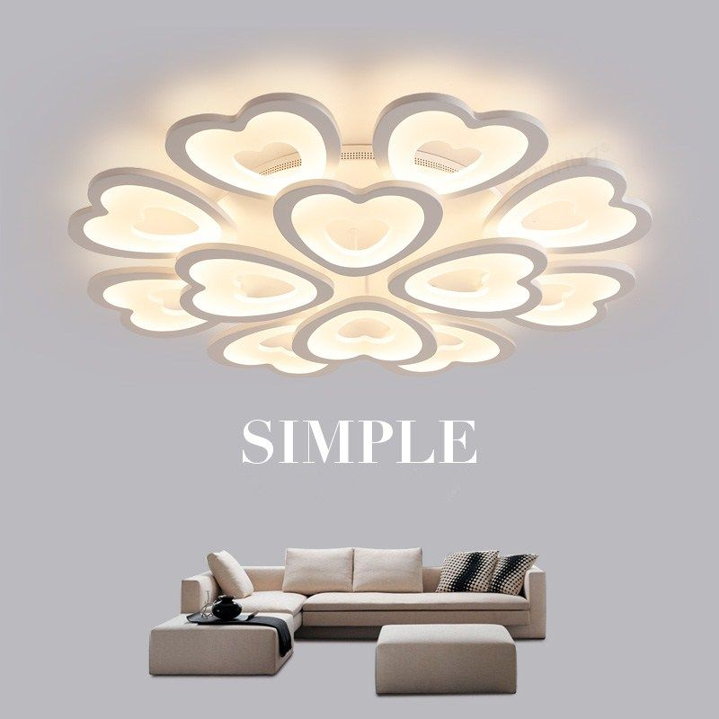 Romantic Heart shaped Acrylic Ceiling Lights For Living