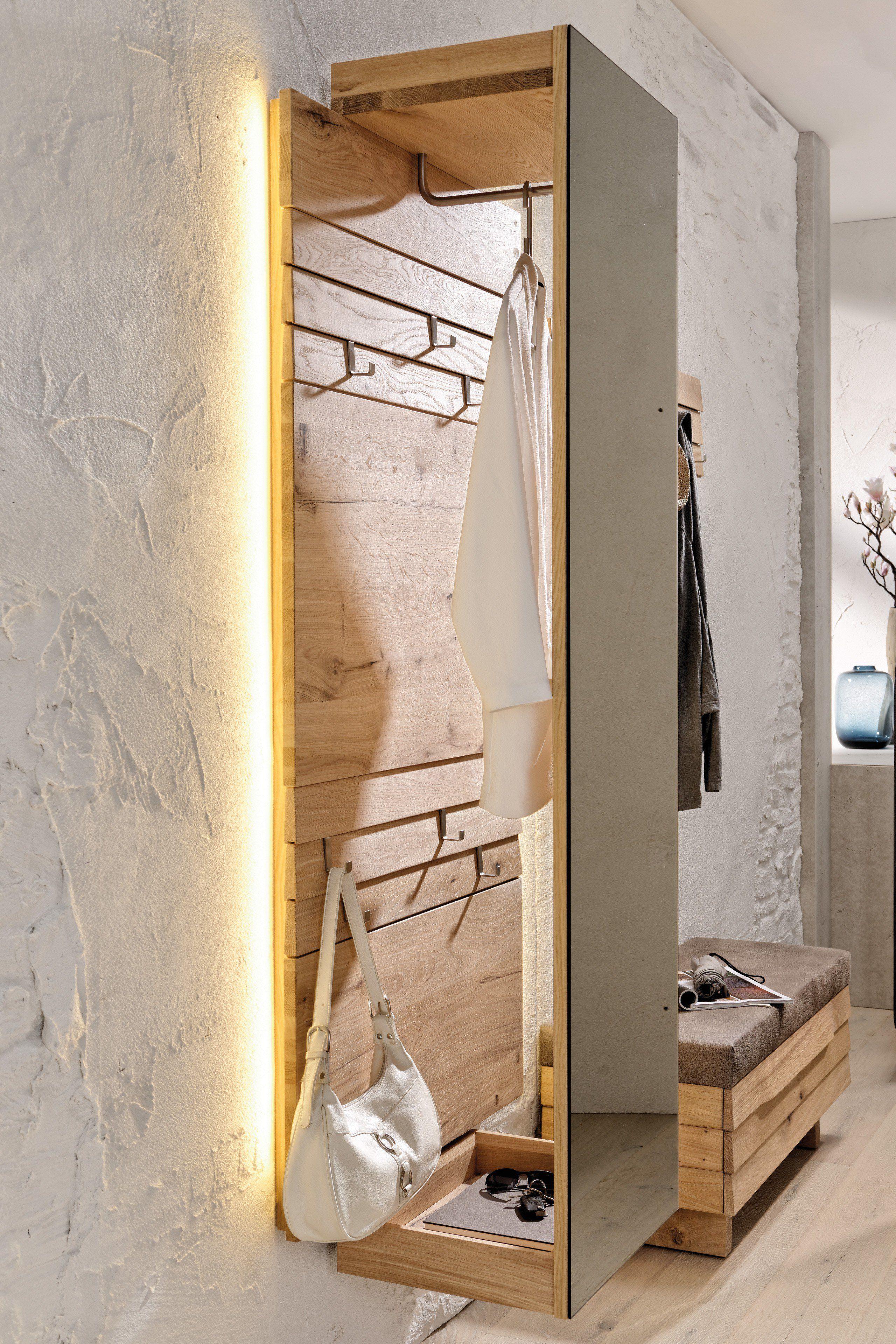 V organo von voglauer garderobe in wildeiche spiegel in for Garderobe einrichten ideen