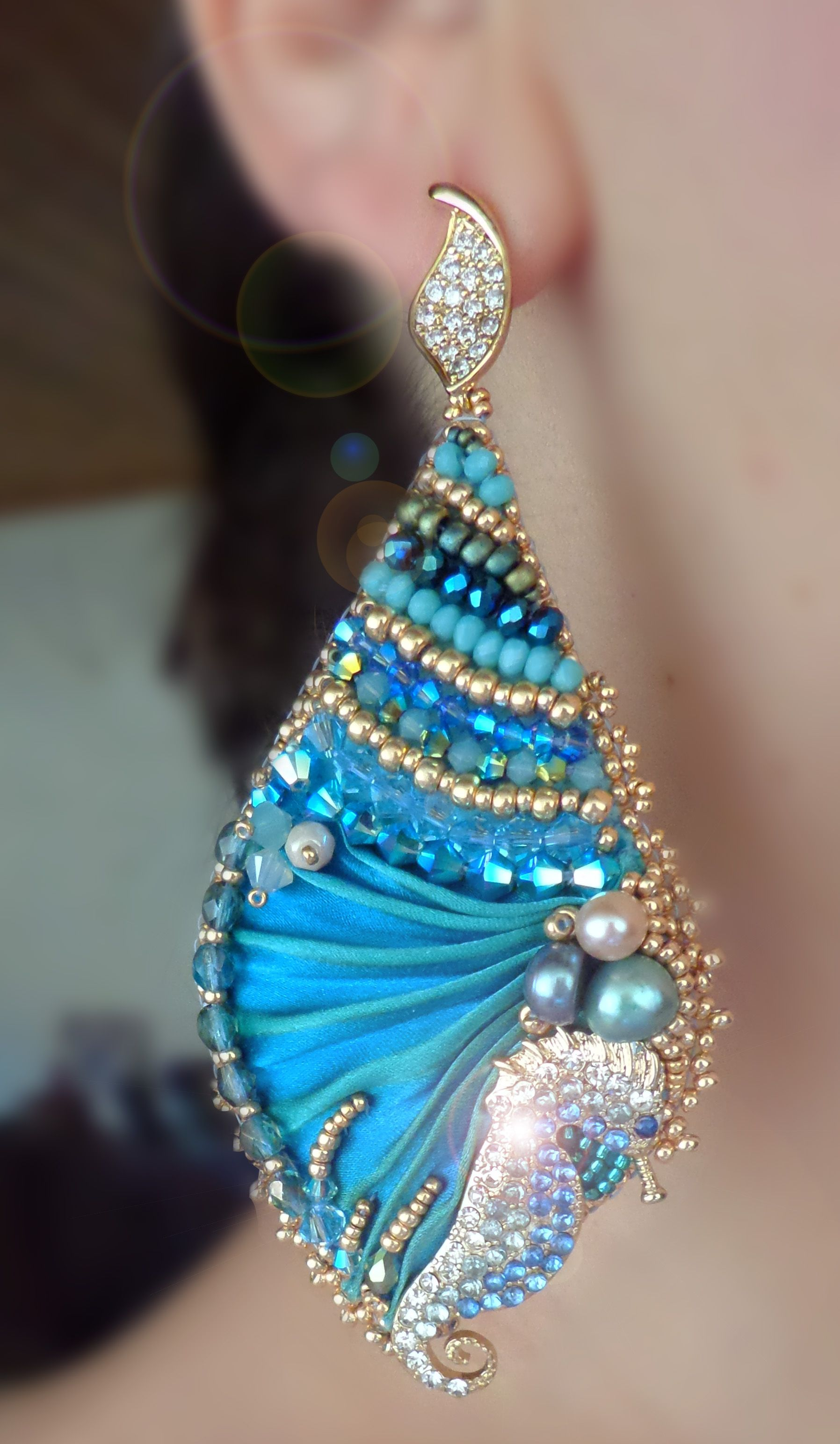 3564ef1859c2 EARRINGS  sparkling seahorses and shibori silk--- design by Serena Di  Mercione