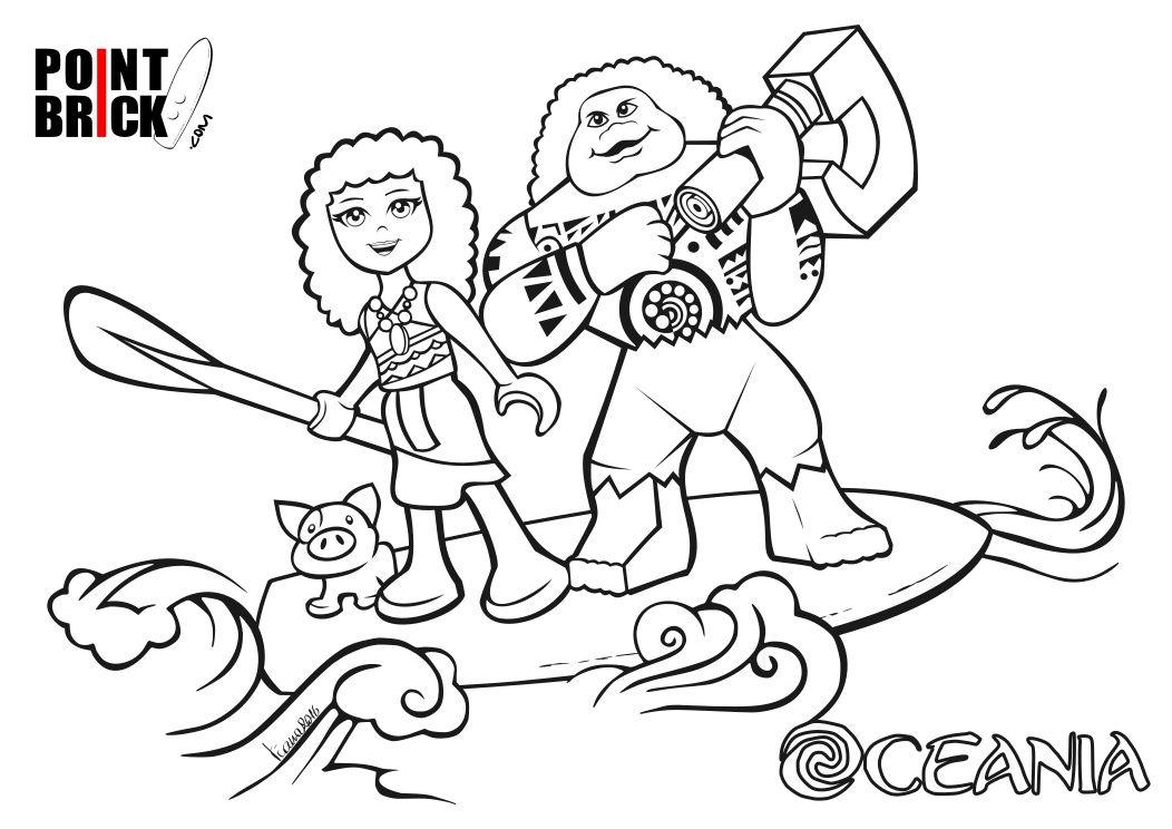 Disegni da Colorare: LEGO Disney Oceania e Frozen ...