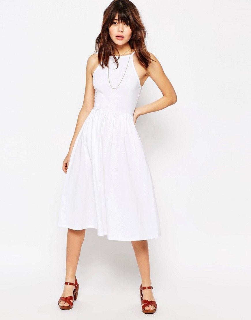 6baa4a5546 ASOS 90 s High Neck Midi Dress - White