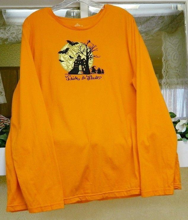 Halloween Witches Bats Moon Tee Shirt 3X Orange Black Metallic Gold #Halloween #KnitTop #Casual
