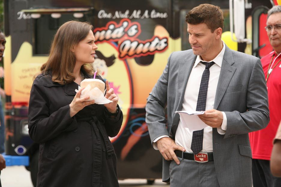 """Emily Deschanel behind the scenes of the """"The Hotdog In The Competition"""" episode of BONES on FOX."""