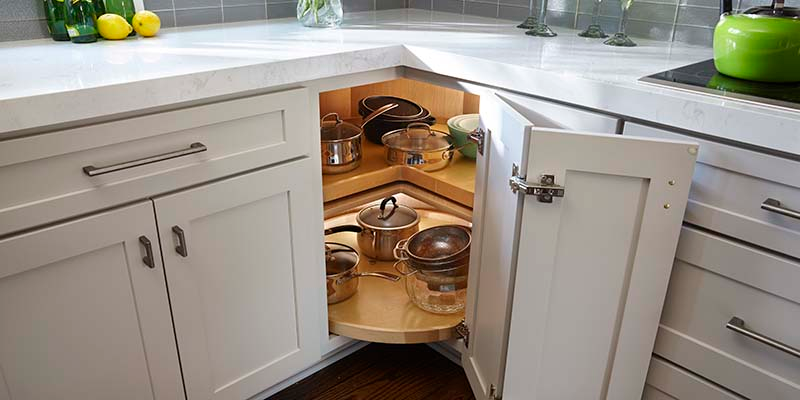 Lazy Susan Cabinet - Rotating Tray Storage in 2020 (With ...